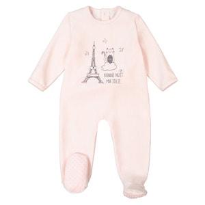 Pyjama in fluweel met print vooraan 0 mnd-3 jaar