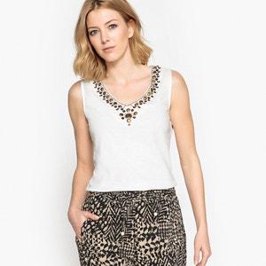 Camiseta sin mangas con cuello de pico y lentejuelas ANNE WEYBURN