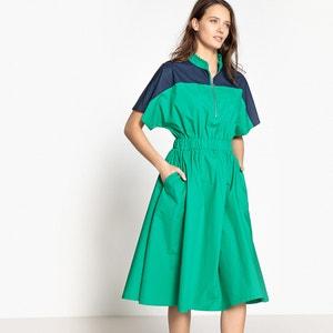 Color block jurk, rits vooraan, elastisch MADEMOISELLE R