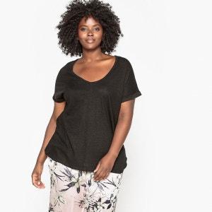 Tee-shirt col V coton/lin CASTALUNA