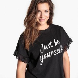 T-shirt com mensagem, mangas com folho CASTALUNA