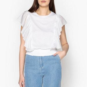 T-Shirt TABATA SILK mit Volants, Baumwolle und Seide LEON and HARPER