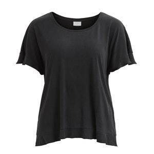 T-shirt met ronde hals, korte mouwen en volant VILA