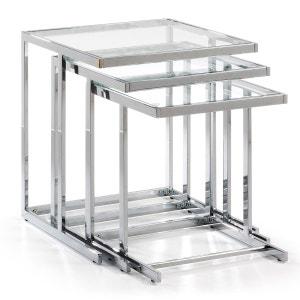 Set 3 tables gigogne Bliar, verre transparent KAVEHOME
