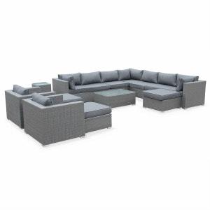 Salon de jardin en résine tressée grise XXL 14 place fauteuil canapé géant ALICE S GARDEN