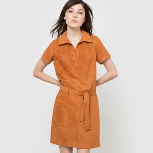 Vestido de antelina, manga corta y cinturón La Redoute Collections