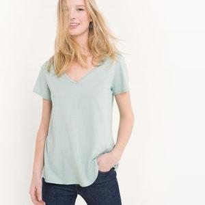 T-shirt com decote em V, algodão/modal R essentiel