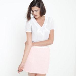 Vestido bimatéria de mangas curtas COLOR BLOCK
