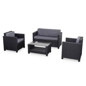 Salon de jardin en résine tressée 4 places noir gris Perugia fauteuil canapé ALICE S GARDEN