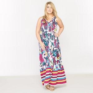 Bardzo długa sukienka bez rękawów wykonana z dzianiny z nadrukiem CASTALUNA