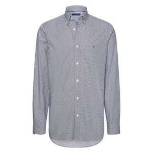 Slim hemd met micro-bloemmotief