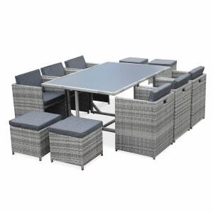 Salon de jardin Vasto Nuances de gris table en résine tressée 6 à 10 places, fauteuils encastrables ALICE S GARDEN