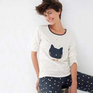 Pyjama in katoen met kattenprint La Redoute Collections