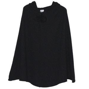 Poncho femme à capuche- Pailleté noir BOBINE
