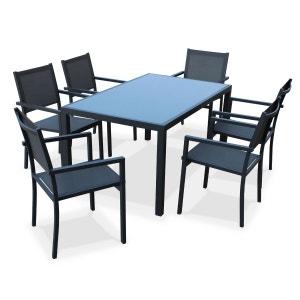 Salon de jardin aluminium table 150cm, 6 fauteuils en textilène gris et alu anth ALICE S GARDEN