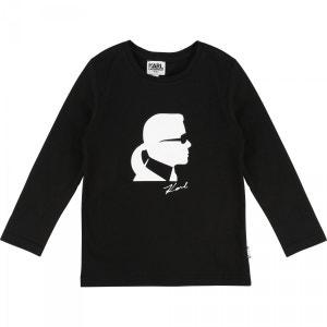 T-shirt Mini Me manches longues noir KARL LAGERFELD
