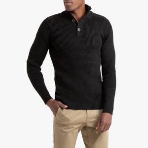 Trui met opstaande kraag in geribd tricot