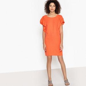 Korte effen rechte jurk met korte mouwen SEE U SOON