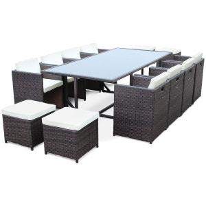 Salon de jardin Vasto Chocolat table en résine tressée 8 à 12 places, fauteuils encastrables ALICE S GARDEN