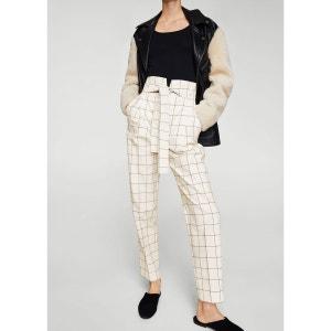 Pantalon à carreaux avec ceinture MANGO