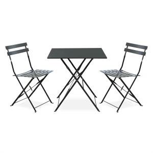 Salon de jardin bistrot pliable Emilia carré gris anthracite, table 70x70cm avec ALICE S GARDEN