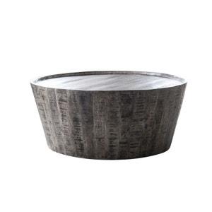 Table basse ronde manguier massif gris forme tonneau D80cm LUCKNOW PIER IMPORT