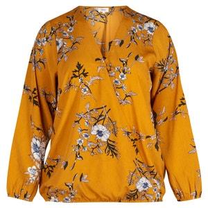 Blusa com decote em V, estampada, mangas compridas ZIZZI