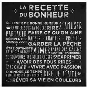 Plaque message sur toile imprimé 'Recette du Bonheur' coloris noir 38x38cm PIER IMPORT