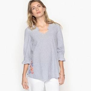 Blusa com decote em V, riscas e bordado ANNE WEYBURN
