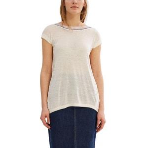 Gładki t-shirt z okrągłym dekoltem ESPRIT