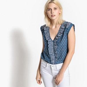 Bedrukte blouse met ronde hals, zonder mouwen PEPE JEANS