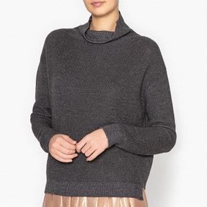 Пуловер с воротником-стойкой из ребристого трикотажа POMANDERE