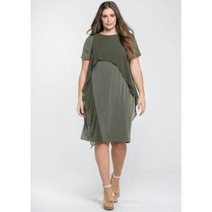Wijd uitlopende, bedrukte lange jurk MAT FASHION