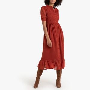 Lange jurk met knoopsluiting, korte mouwen