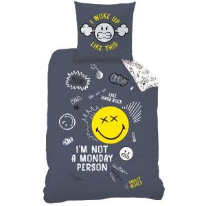 Housse de couette et taie d'oreiller 140x200 cm SMILEY MONDAY 100% Coton SMILEY