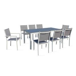 Table de jardin en aluminium et verre 8 places OVIALA