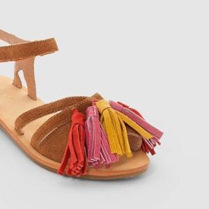 Sandálias em pele, pompons abcd'R
