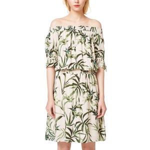 Bedrucktes Kleid, schulterfrei, elastische Taille ESPRIT