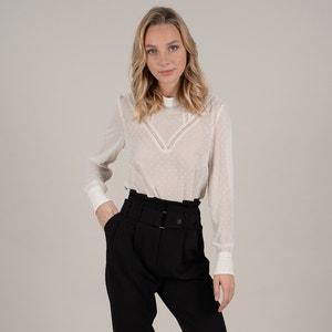 Transparante blouse met nopjes, lange mouwen