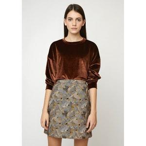 Korte rok met hoge taille, bladermotief