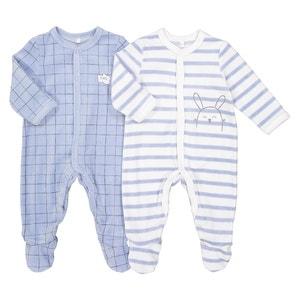 Pijama con conejito de tercipelo, lote de 2, prematuro - 2 años La Redoute Collections