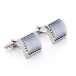 Boutons de manchette métal Bombé ondulé gris LOUIS JAMAIN