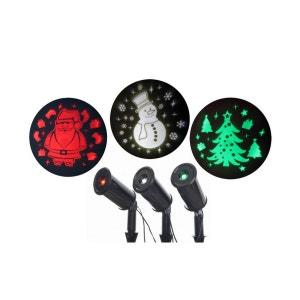 Lot de 3 projecteurs LED Noël fixe – Sapin vert, Père-Noël rouge et Bonhomme de neige blanc - Extérieur ou intérieur TARRINGTON HOUSE