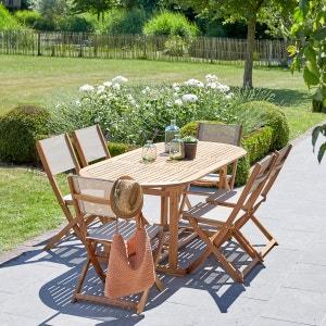 Salon de jardin en bois d'acacia extensible 6/8 places BOIS DESSUS BOIS DESSOUS