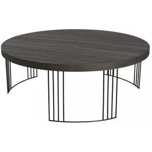 table basse ronde bois pieds mtal landaise pier import - Pied Pour Table Basse