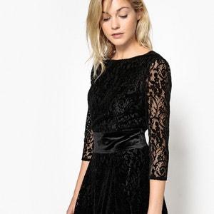 Koronkowa sukienka, welurowy pasek, śliczny tył MADEMOISELLE R