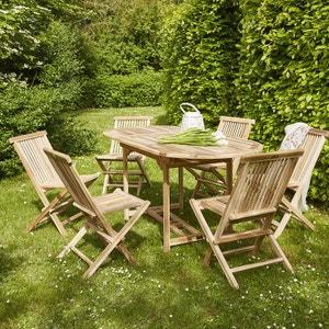 Salon de jardin en bois de teck 4 à 6 places BOIS DESSUS BOIS DESSOUS