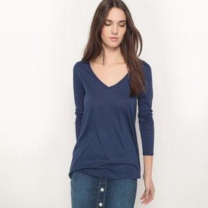 T-shirt ample col V, coton/modal R essentiel
