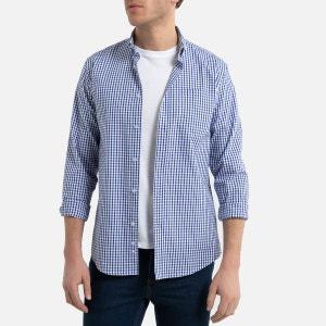 Recht hemd met lange mouwen en vichy print