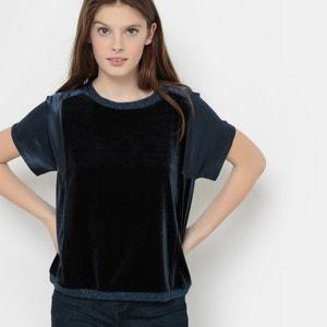 Camiseta corta en dos tejidos R essentiel